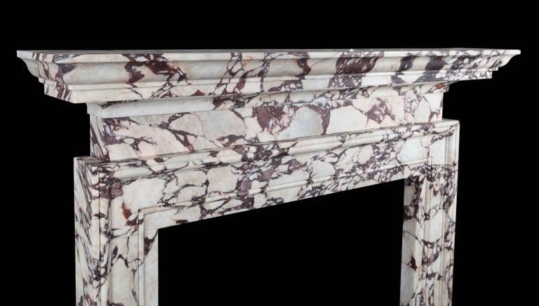 Modern Ryan & Smith Portavo Breccia Viola Marble Fireplace For Sale