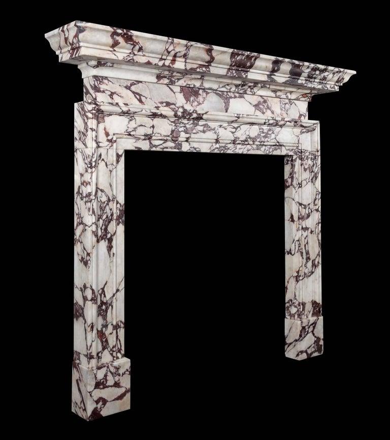 Northern Irish Ryan & Smith Portavo Breccia Viola Marble Fireplace For Sale
