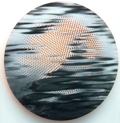 Ripple - reflective tondo in black, white and brilliant orange