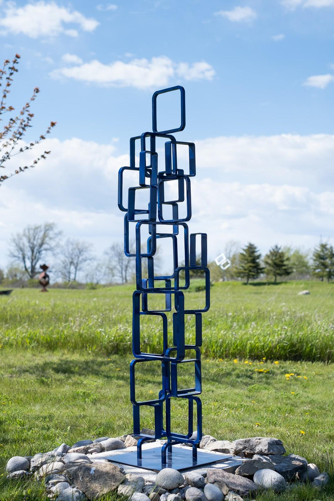 Frame - tall, blue, outdoor, painted steel, geometric abstract sculpture
