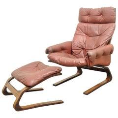 Rybo Rykken Mid-Century Modern Rosewood Leather Kengu Lounge Chair Ottoman