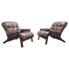 RyBo Rykken Vintage Scandinavian Pair of Leather/Rosewood Lounge Chairs