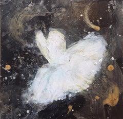 'Tiny Dancer IV', Contemporary Abstract Ballerina Miniature Mixed Media Painting