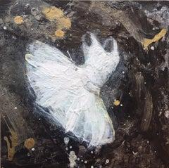 'Tiny Dancer IX', Contemporary Abstract Miniature Acrylic Ballerina Painting