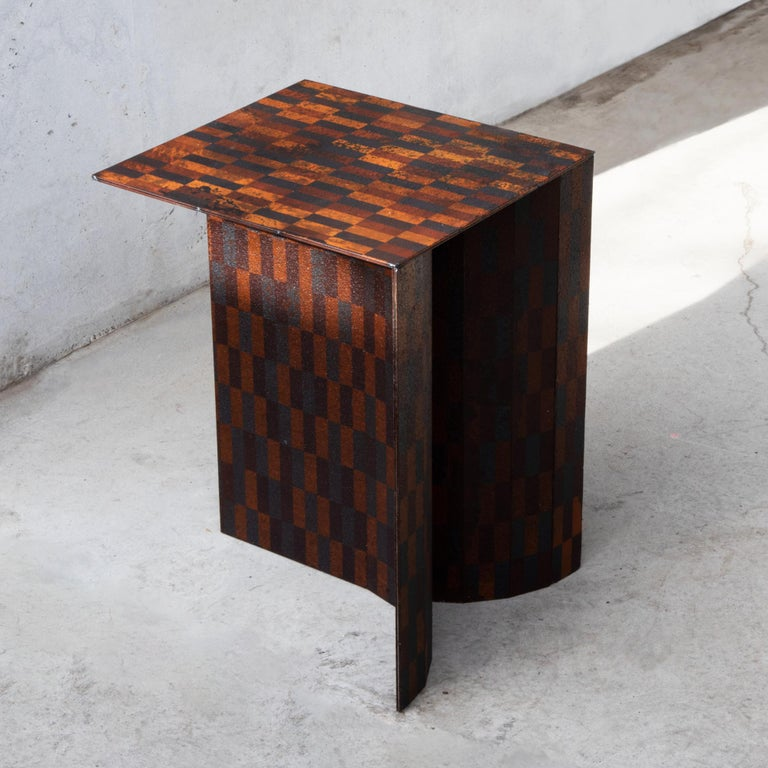 Stool or side table designed by Ryota Akiyama. Made of steel board. Patterns have been created with getting rust.