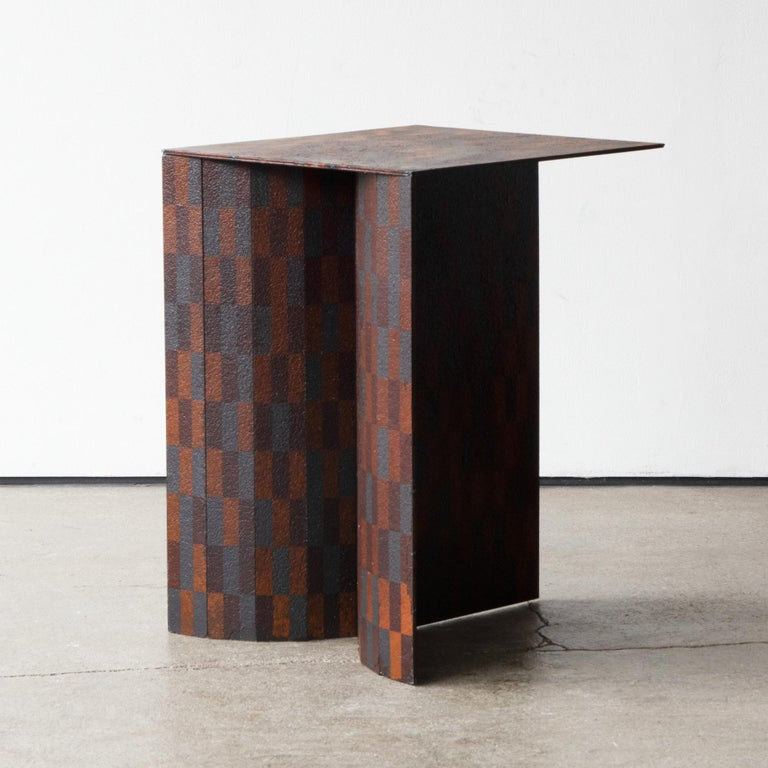 Post-Modern Ryota Akiyama BTF Stool / Table Contemporary Steel Work with Rust Patterns For Sale