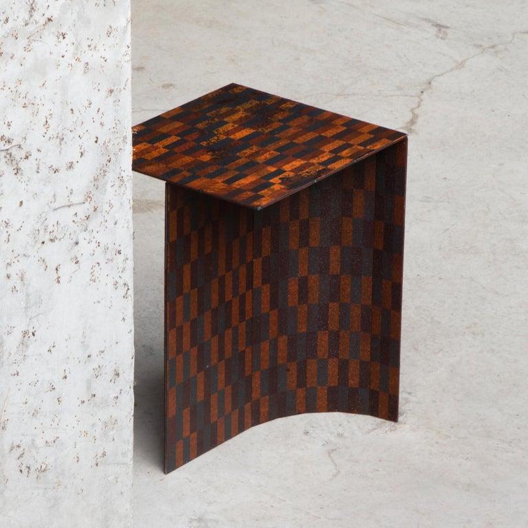 Japanese Ryota Akiyama BTF Stool / Table Contemporary Steel Work with Rust Patterns For Sale