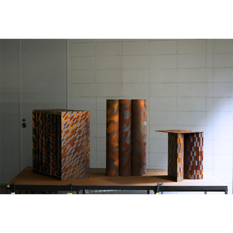 Ryota Akiyama BTF Stool / Table Contemporary Steel Work with Rust Patterns In New Condition For Sale In Shibuya-ku, Tokyo