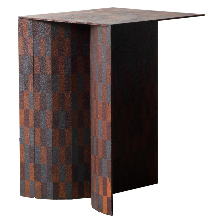 Ryota Akiyama BTF Stool / Table Contemporary Steel Work with Rust Patterns For Sale