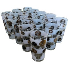 """S/15 """"Old Coin"""" Gold, Black & Copper Over Frosted & Clear Tall Cocktail Glasses"""