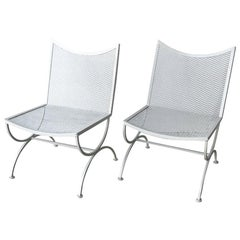 S/2 Bob Anderson Newly Enameled White Wrought Iron Armless Patio Side Chairs