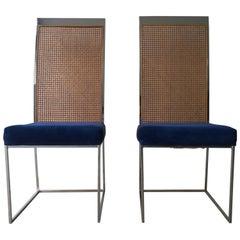 S/2 Milo Baughman Navy Chenille / Cotton Velvet Chrome & Cane Back Dining Chairs