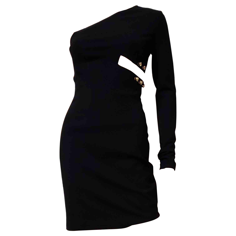 S 2015 L# 15 VERSUS VERSACE + ANTHONY VACCARELLO ONE SHOULDER BLACK Dress 42 - 6