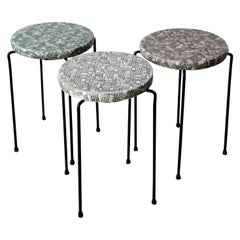 S/3 Black Wrought Iron w/ Red, Green & White Vinyl Stacking Stools / Side Tables