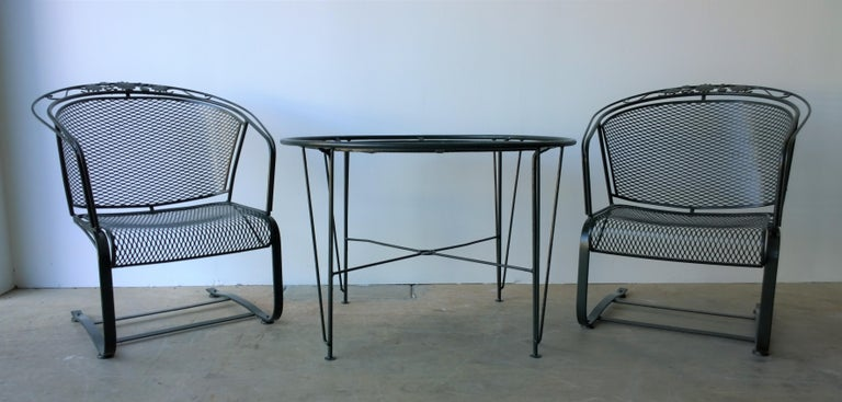 Offered is a set of three newly painted mid century modern Russell Woodard