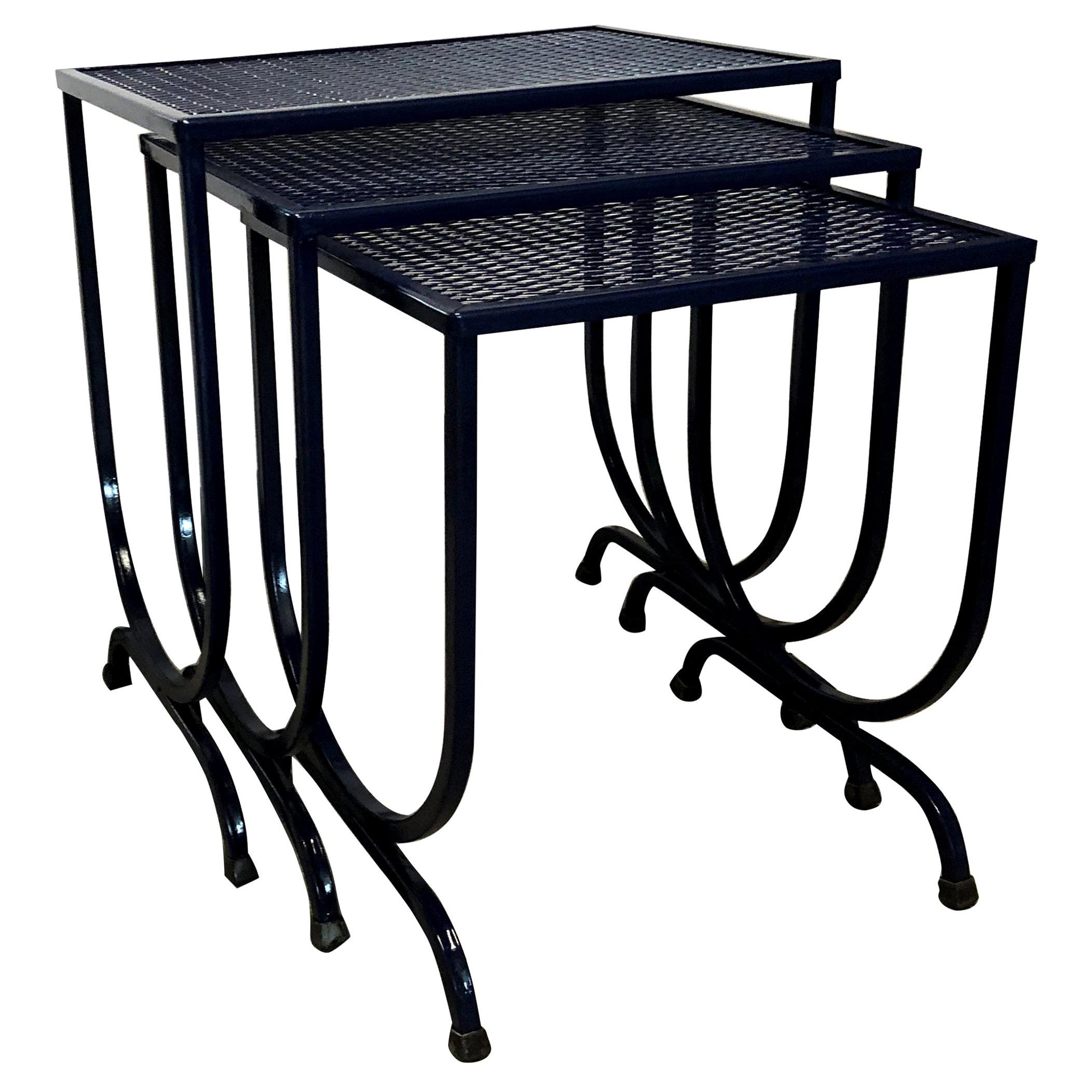S/3 Salterini Newly Enameled Blue Wrought Iron Patio Stacking / Nesting Tables