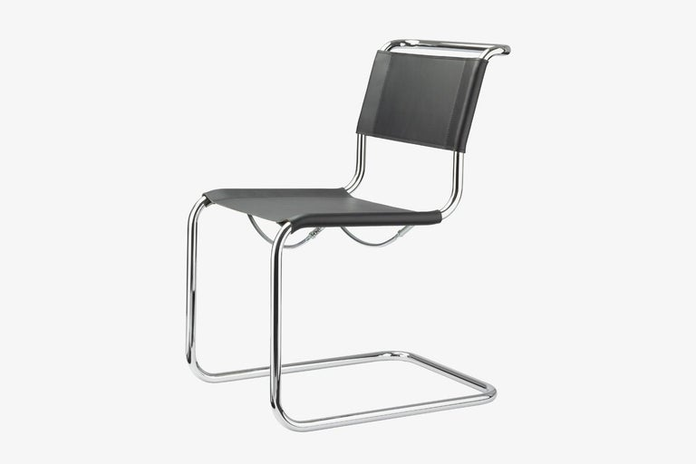 """Cubic form, clear design, fine proportions, and flexing movement: The development of the perfected cantilever chairs S 33 and S 34, among the first of their kind, today combines zeitgeist and a sense of tradition. """"Why four legs if two will"""