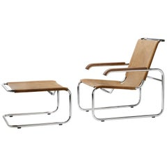 S 35 Cantilever Leather Lounge Armchair and Ottoman Designed by Marcel Breuer