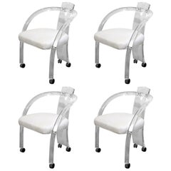 S/ 4 Charles Hollis Jones Style Lucite w/ White Leatherette Armchairs on Casters