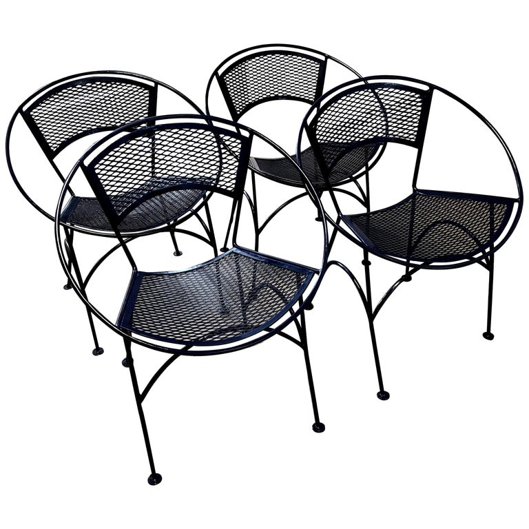 S/4 John Salterini Wrought Iron Newly Enameled in Navy Blue Radar Patio Chairs For Sale