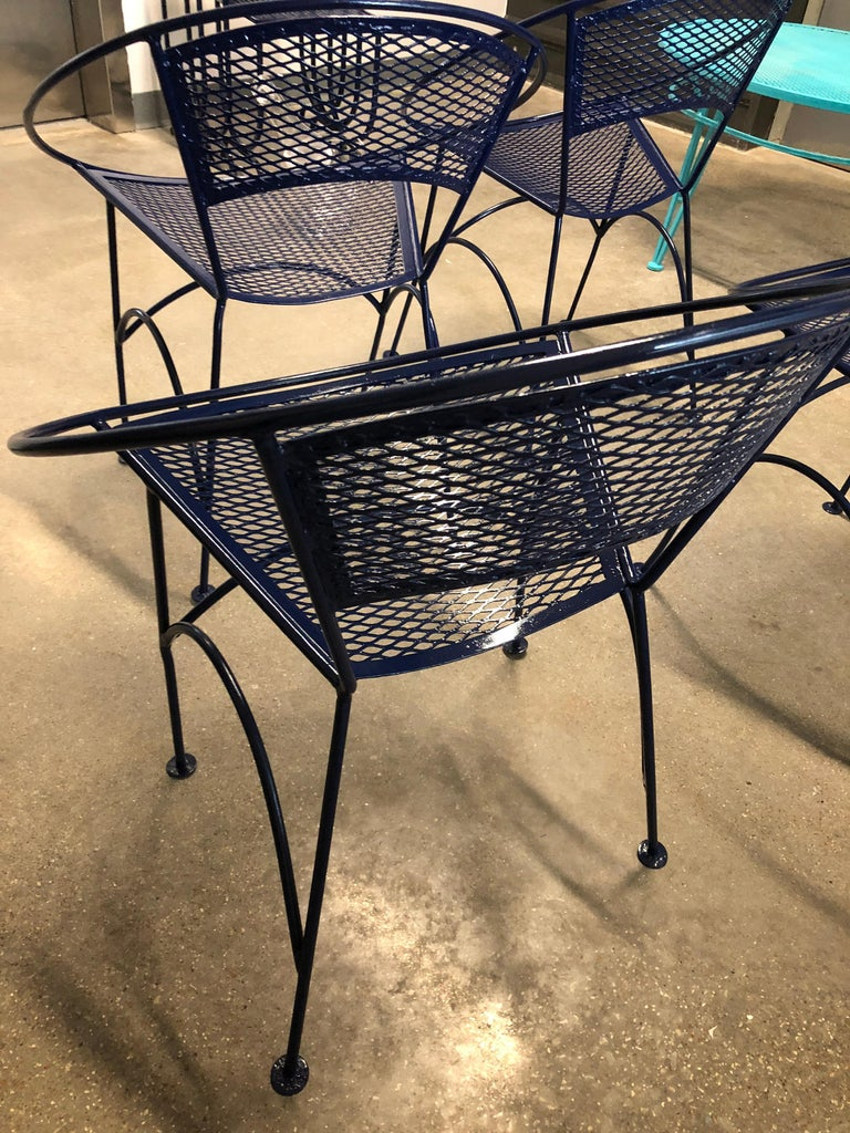 S/4 John Salterini Wrought Iron Newly Enameled in Navy Blue Radar Patio Chairs For Sale 3
