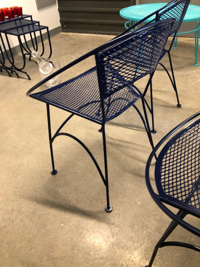 S/4 John Salterini Wrought Iron Newly Enameled in Navy Blue Radar Patio Chairs For Sale 5
