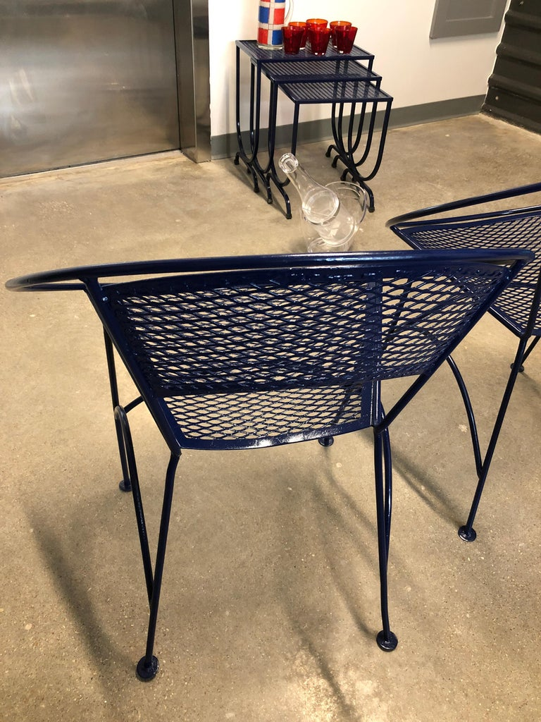 S/4 John Salterini Wrought Iron Newly Enameled in Navy Blue Radar Patio Chairs For Sale 6
