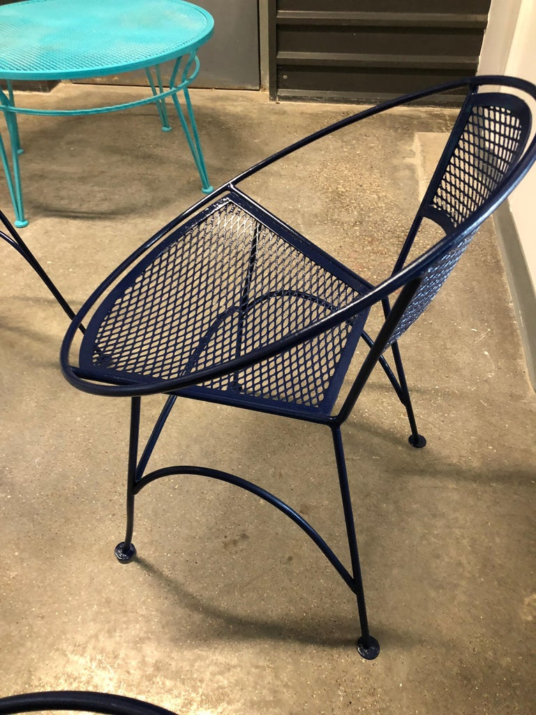 S/4 John Salterini Wrought Iron Newly Enameled in Navy Blue Radar Patio Chairs For Sale 7