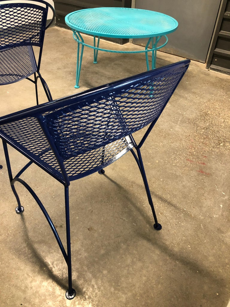 S/4 John Salterini Wrought Iron Newly Enameled in Navy Blue Radar Patio Chairs For Sale 8
