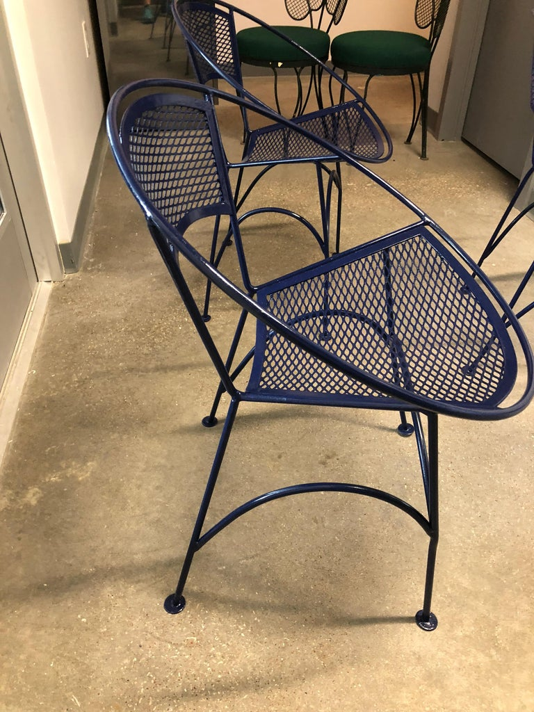S/4 John Salterini Wrought Iron Newly Enameled in Navy Blue Radar Patio Chairs For Sale 9