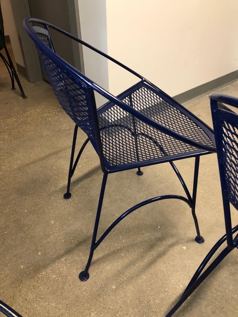 S/4 John Salterini Wrought Iron Newly Enameled in Navy Blue Radar Patio Chairs For Sale 10