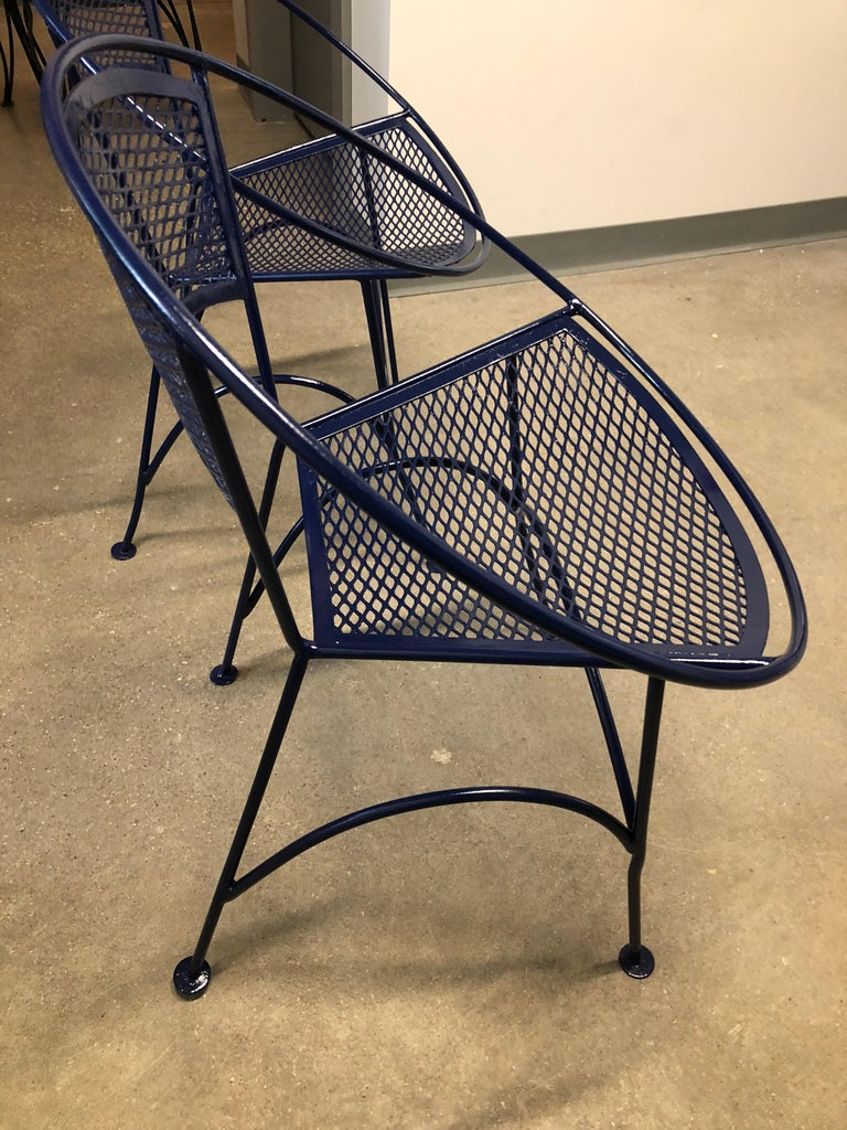 S/4 John Salterini Wrought Iron Newly Enameled in Navy Blue Radar Patio Chairs For Sale 11