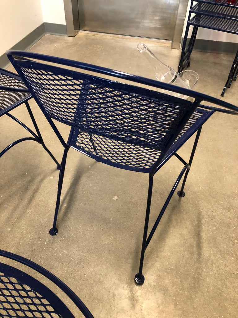S/4 John Salterini Wrought Iron Newly Enameled in Navy Blue Radar Patio Chairs For Sale 12