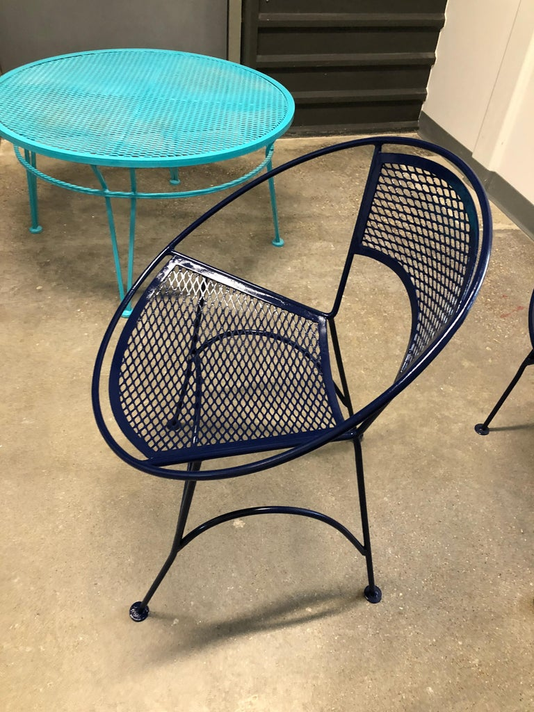 S/4 John Salterini Wrought Iron Newly Enameled in Navy Blue Radar Patio Chairs For Sale 13