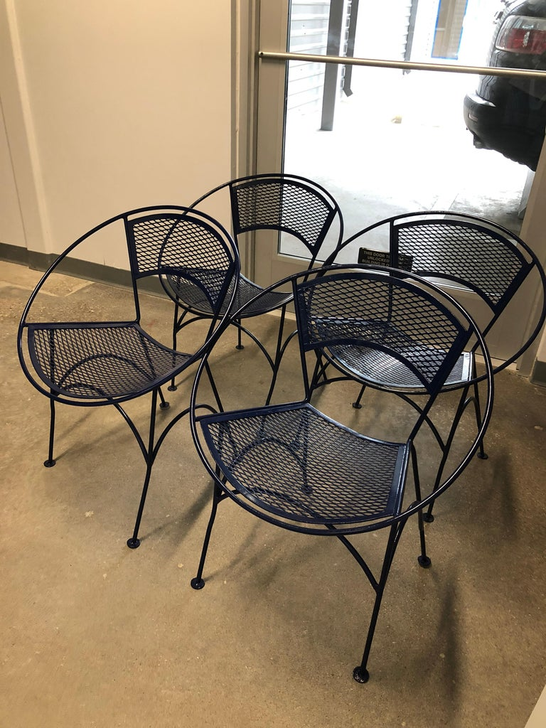 Mid-Century Modern S/4 John Salterini Wrought Iron Newly Enameled in Navy Blue Radar Patio Chairs For Sale