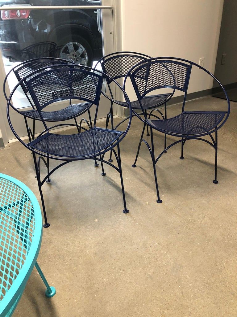 American S/4 John Salterini Wrought Iron Newly Enameled in Navy Blue Radar Patio Chairs For Sale