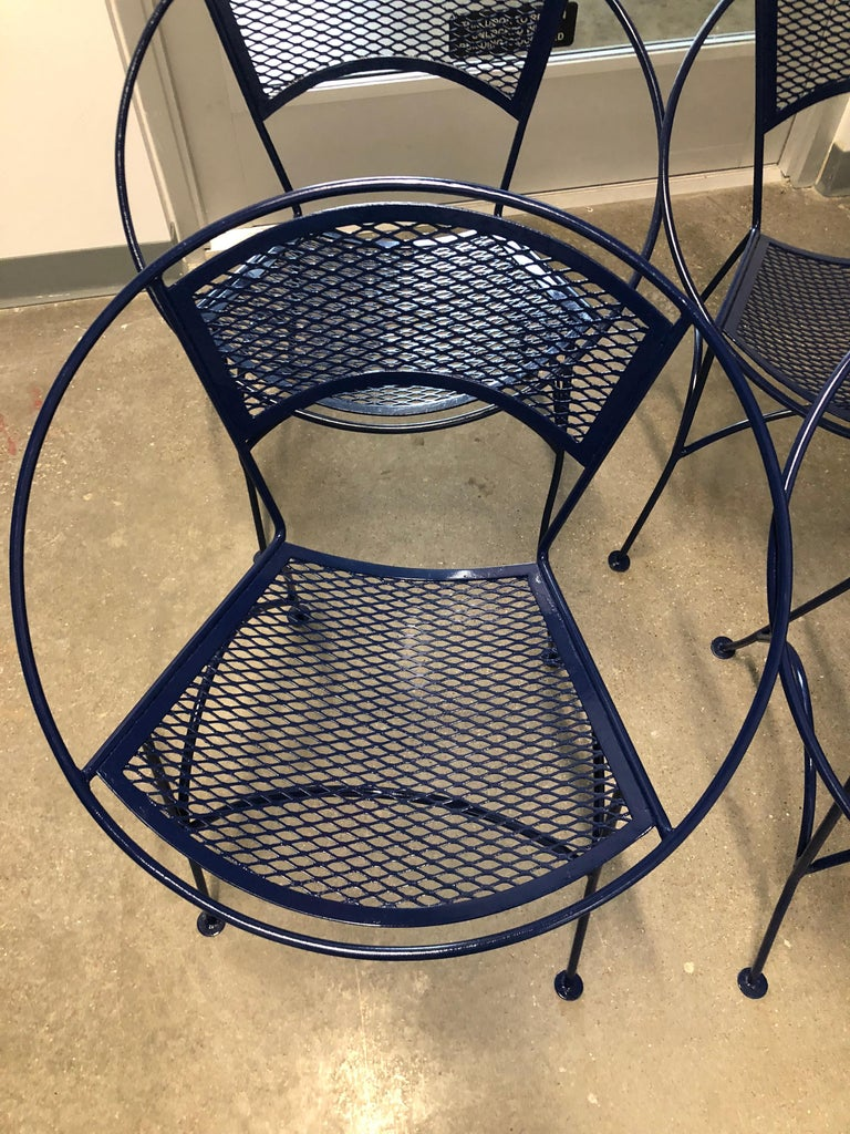 S/4 John Salterini Wrought Iron Newly Enameled in Navy Blue Radar Patio Chairs In Good Condition For Sale In Houston, TX