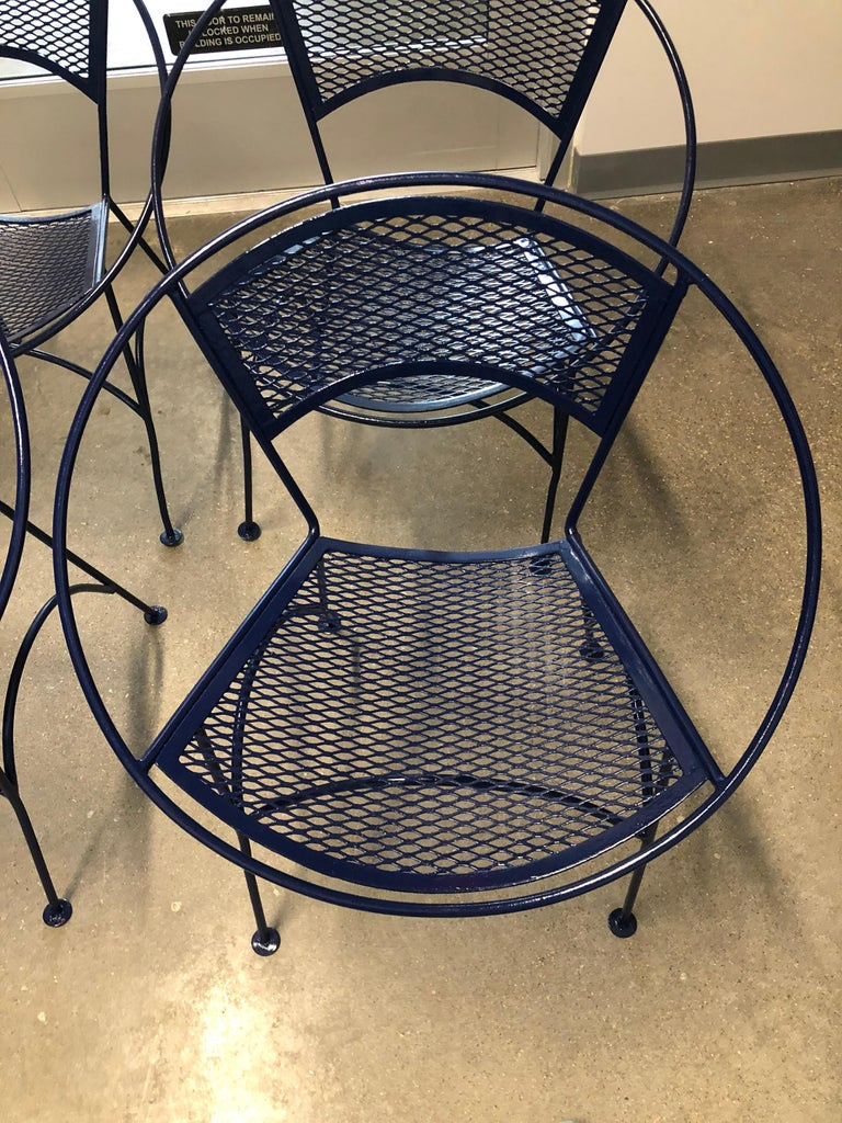 20th Century S/4 John Salterini Wrought Iron Newly Enameled in Navy Blue Radar Patio Chairs For Sale
