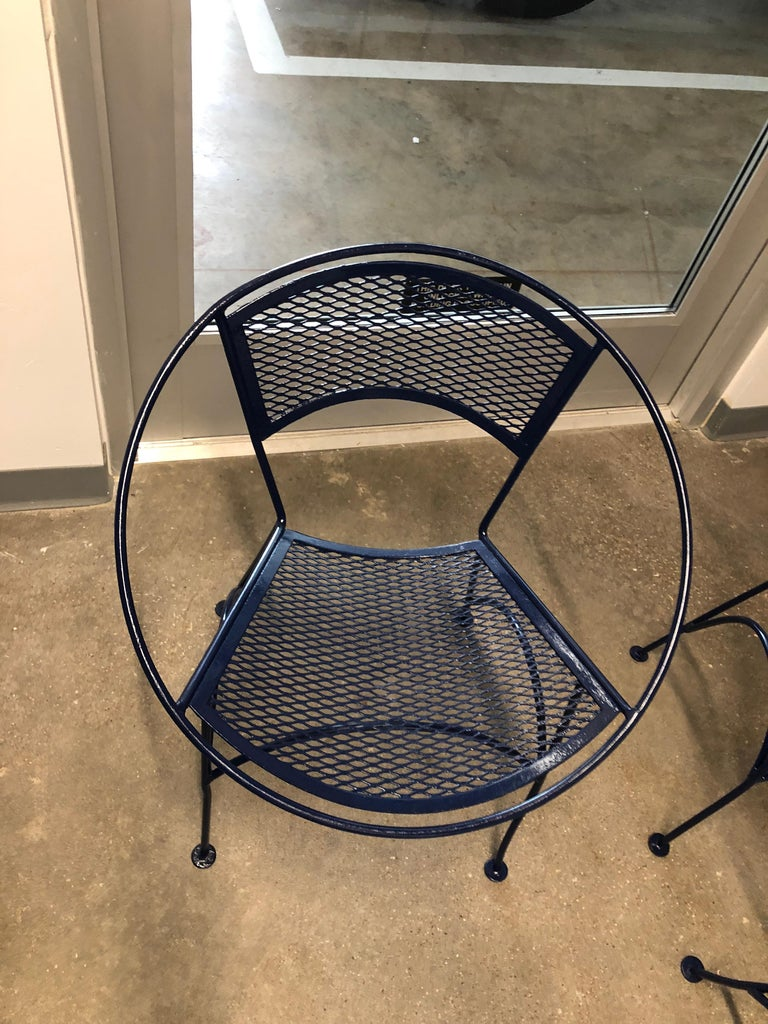 S/4 John Salterini Wrought Iron Newly Enameled in Navy Blue Radar Patio Chairs For Sale 1