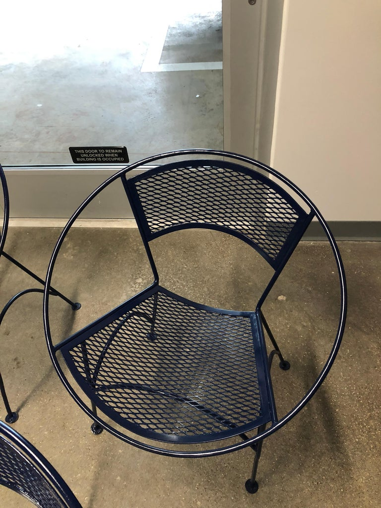 S/4 John Salterini Wrought Iron Newly Enameled in Navy Blue Radar Patio Chairs For Sale 2