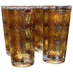 S/4 Mid-Century Modern Signed Georges Briard Gilt Gold & Smoked Cocktail Glasses