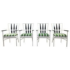 S/4 Salterini Patio Armchairs with White & Black Frame & Green Stripe Upholstery