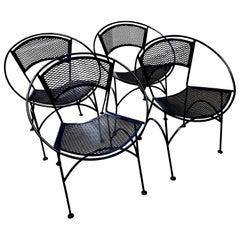 S/4 Salterini Wrought Iron Newly Enameled Navy Blue Radar Patio / Garden Chairs