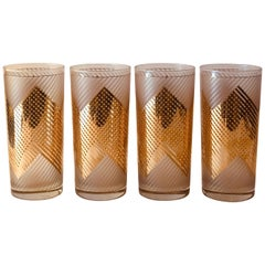 S/4 Signed Culver 22k Gold Chevron Design over White Frosted Cocktail Glasses