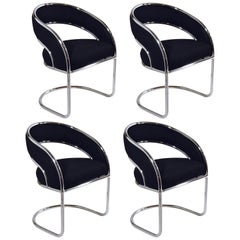 Set of 4 Upholstered in Black Felt Wool and Chrome Armed Dining Chairs