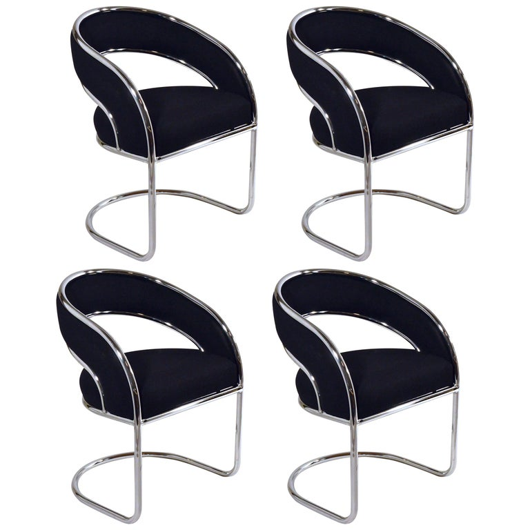 Set Of 4 Upholstered In Black Felt Wool And Chrome Armed Dining Chairs At 1stdibs