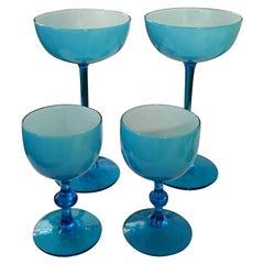 S/4 White Encased Cerulean Light Blue Carlo Moretti Stemmed Blown Glass Goblets