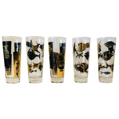 S/5 Kalla Black & Gold Accented Modern Grecian & Aquatic Themed Cocktail Glasses