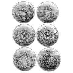 S/6 Black and White Fornasetti Le Oceanidi 'Women in Shells' Porcelain Coasters