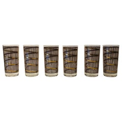 S/6 Georges Briard Gold Gilt Pattern Over Smoked Glass Cocktail Glasses Barware